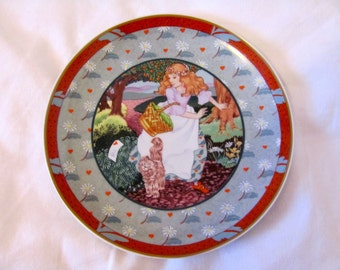 Vintage 80s A Tisket, A Tasket, Once Upon a Rhyme Plate, Made by Heinrich, West Germany