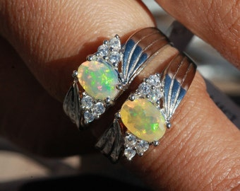 2 STUNNING Natural Ethiopian Faceted Opal Rings set in an elegant Sterling Silver setting.