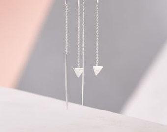 Triangle Detail Chain Earrings in Silver
