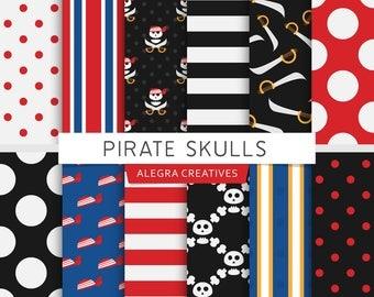Pirate Skulls digital paper, pirate birthday party, bones, skulls, swords, red, blue, yellow, black, scrapbook papers (Instant Download)