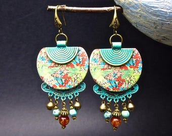 Asian cherry and mantra agate earrings
