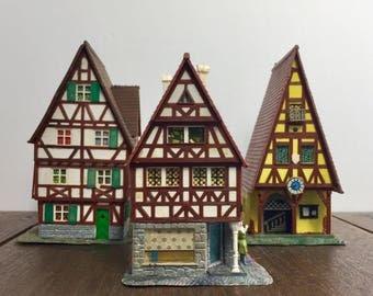 HO Scale Buildings - Vintage WIAD Model Train Houses, West Germany Model Train Buildings, Miniature Village, Light-Up Model Railroad Houses
