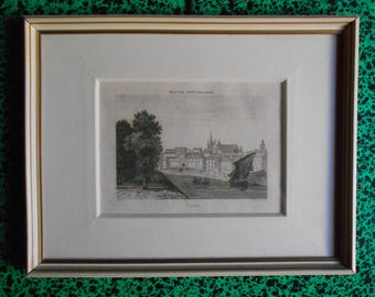 Antique French Victorian Engraving Framed, Vannes, 1835, signed, deco