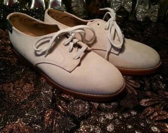 Vintage Bass Saddles Cream Suede Oxfords (Size 7) c 1970's