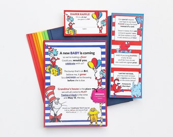 Dr. Seuss Baby Shower / Baby Shower Invitations / Dr. Seuss Baby Diaper Raffle / Dr. Seuss Baby Shower Invitations / Fun Baby Shower