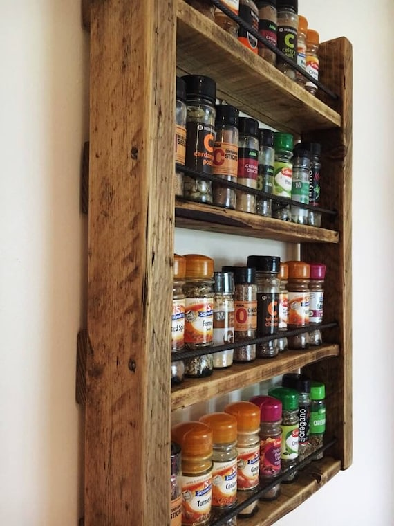 wall spice rack rustic spice rack reclaimed wood kitchen storage wood 31611