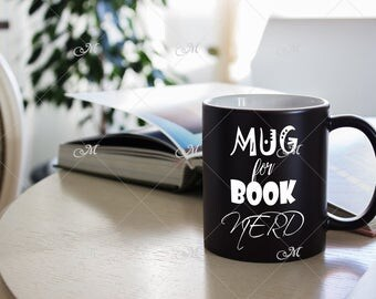 Black Mug Mockup. PSD + JPG