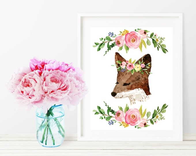 Fox Printable Nursery Decor, Fox Watercolor Floral Wall Art Print, 8x10 Woodland Nursery Digital Art Print, Printable Girl Nursery