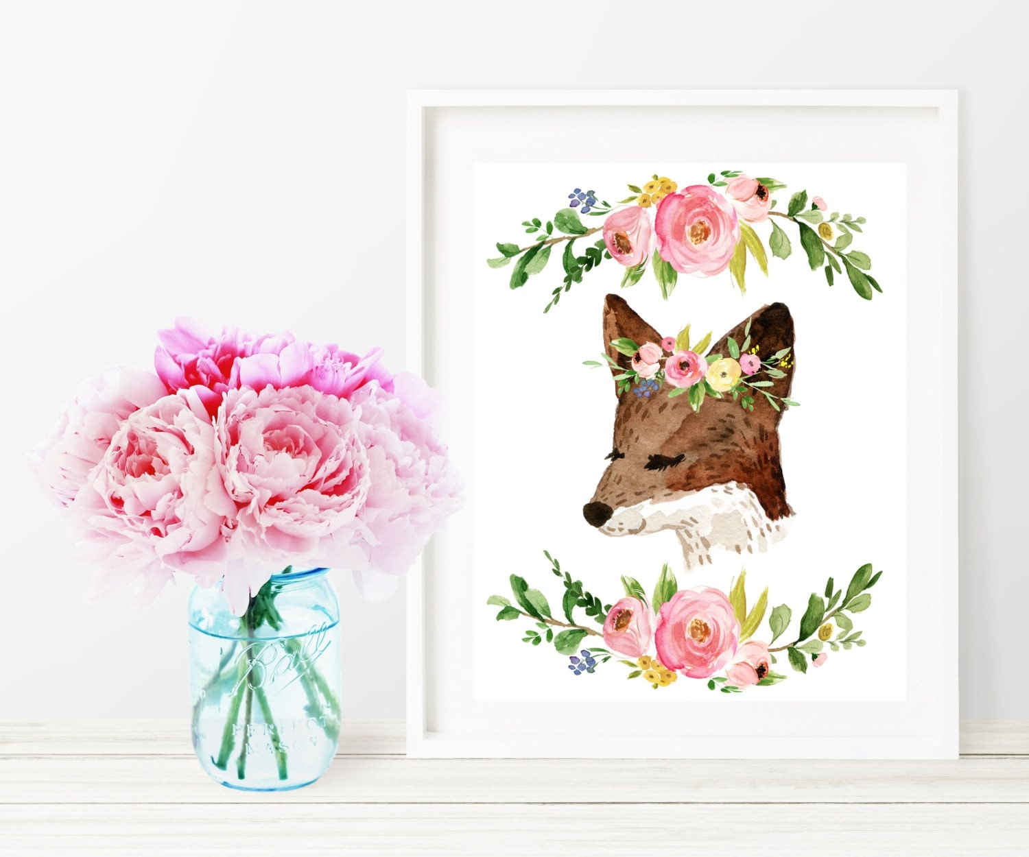 Fox printable nursery decor fox watercolor floral wall for Girls wall art