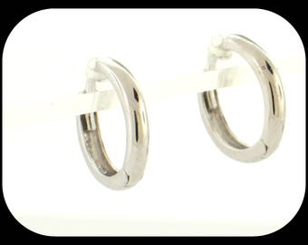 New 14K Solid White Gold Small For Girl Huggie Hoop EARRINGS 7/16""