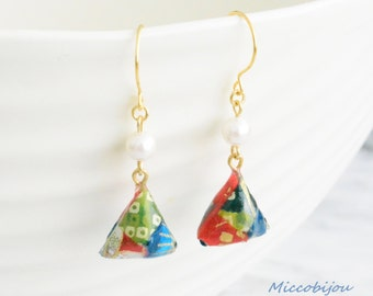 Origami Triangle Earrings - Green/Blue/Red