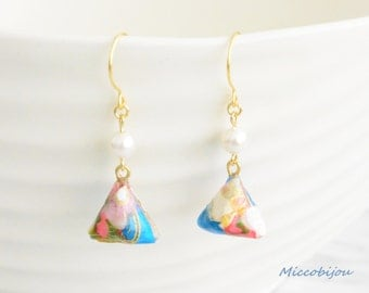 Origami Triangle Earrings - Blue/Red/Light Green