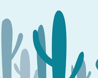 "Wall Art Print, ""Blue Cacti"" Print, Plant Art, Foliage Print, Modern Wall Art, Pastel Print"
