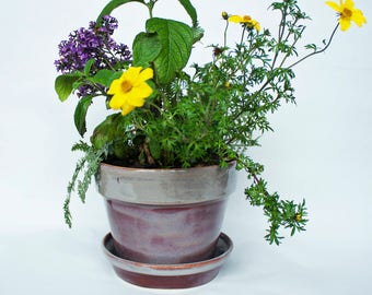 Colorful Ceramic Planter- Indoor/Outdoor Flower Pot- Handmade Flower Pot