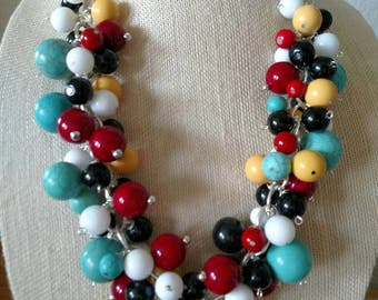 Turquoise, Red & White Chain Cluster Necklace.