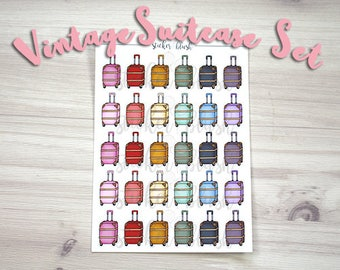 Cute Vintage Suitcase travel planner stickers Matte or Glossy -  for use with Erin condren- #58