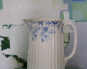 Antique Blue and White Transferware Pitcher