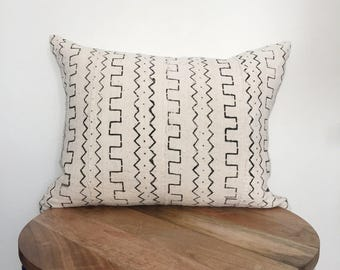 "16x20"" Lumbar White Mudcloth Pillow"