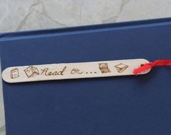 bookmark, read, books, wood burn, wood art, pyrography