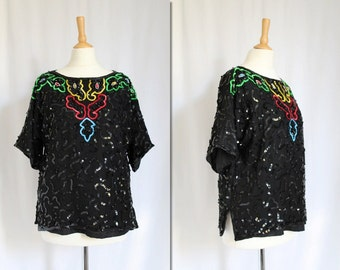 1980s Black Sequinned Blouse * Size X-Small - Large