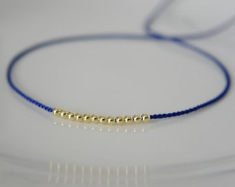 Royal blue silk wish bracelet plastic beaded Friendship Bracelet