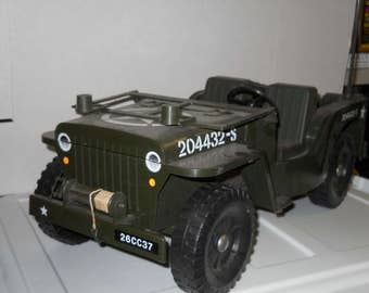"Vintage 1/6 scale GI Joe / Action Man Cherilea Jeep with Supply Trailer loose for 12"" action figures"