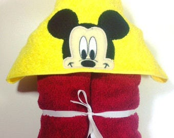 Boy Mouse Character Hooded Towel Bath Towel Beach Towel Embroidered Towel Personalized Towel