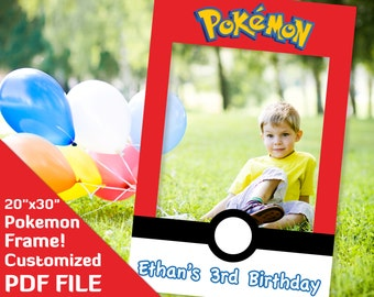 "Pokemon party decorations, ash ketchum, Pokemon photo props frame, Pokemon birthday favor supplies 20x30"" printable Custom decor PDF file"