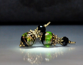 2 Chartreuse Lime Green and Black Bead Dangles or Earrings - Handmade with 12mm Round Lampwork Glass Beads