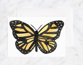 Thinking of You Card - Butterfly Card - Friendship Card - Greeting Cards - Love Cards - Blank Card - Illustrated Cards - Watercolor Card