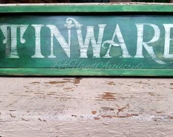 Antique Wood Tinware sign! Free-handed! Vintage sign. Trade sign. Primitive. Old fashioned. Hardware.