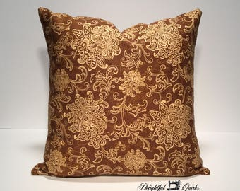 Brown Decorative Throw Pillows, Decorative Pillow, Envelope Pillow Cover, 16 Inch Pillow Cover, 16x16 Pillow Cover, Decorative Pillows