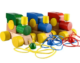 Locomotive on a string (1pc) - Learning Toy - Montessori toddler toy - Toddler birthday gift - Wooden toy - Educational toy