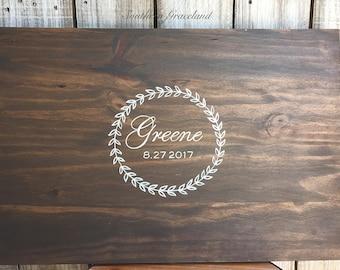 Wood wedding guest book, rustic wood guestbook, wedding guestbook