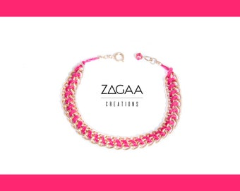 PRIMROSE pink cotton and anodized aluminum bracelet