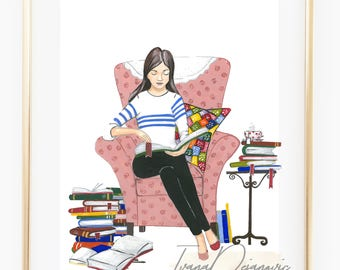 Fashion illustration book lover