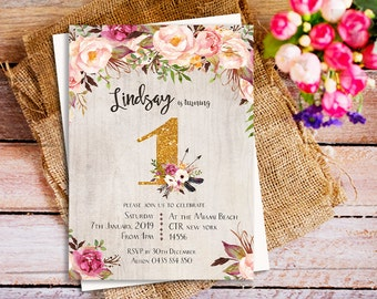Boho floral gold first birthday invitation, Bohemian 1st birthday invitation, rustic wood bohemian invitation, Birthday Party invitation