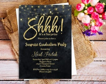 Shhh! It's a Surprise Party Invitation, Gold Glitter Black and White invitations, Black and Gold Birthday invitations, String light party