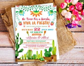 Viva La Fiesta Couple Shower invitation, No Time for siesta invitation, Mexican Fiesta Engagement Invitation, Viva Couple Shower Invitation