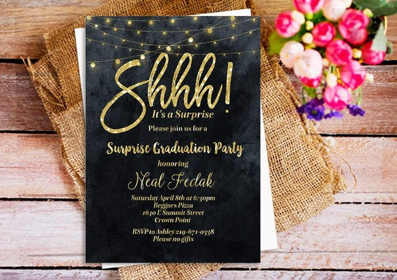 Surprise Wedding Invitation Wording: Shhh It's A Surprise Party Invitation Gold Glitter Black