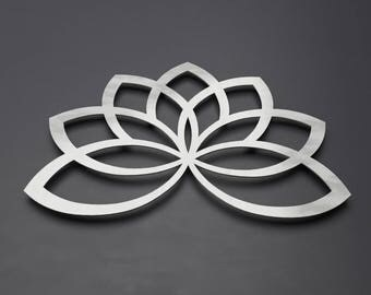 Lotus Flower Metal Wall Art Geometric Sculpture Lotus Metal Art Silver Wall Art