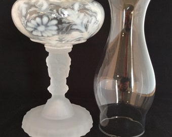 Three Face Pattern Glass Oil Lamp Made in USA in French Opalescent Daisy & Fern Fount over Etched Crystal Base. Great Wedding Present!