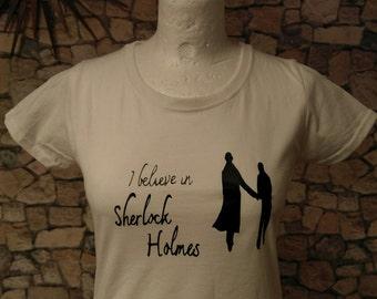 Sherlock, Sherlock Holmes, Sherlock tee, Sherlock T shirt, I believe in Sherlock, Tee, Top, T Shirt, Clothing, Women's, Sherlock and Watson