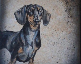 Dachshund art, dachshund paintings, dachshund lovers,black and tan dachshund painting,