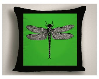 Greenery Outdoor Pillows with Dragon Fly, Green and Black Patio Pillow Cover, Insect Patio Throw Pillow, Decorative Outdoor Pillow Cushion
