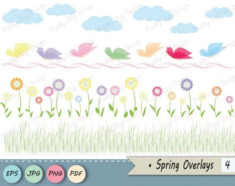 Spring overlays clip art PNG, Vector spring overlays, Grass png, Butterflies PNG, Grass vector, Flower overlay, Grass overlay