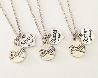 set of 3 sister necklace - pinky promise necklace - friendship necklace - girlfriend necklace - Christmas gift