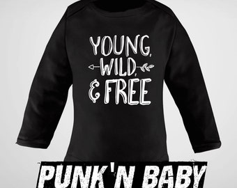 YOUNG WILD & FREE onesie, Punk Baby Clothes, Baby Shower Gift, Unique Baby Gift, Punk Rock Infant Bodysuit