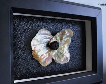 Ice Butterfly - mixed art with seashell and lava marble
