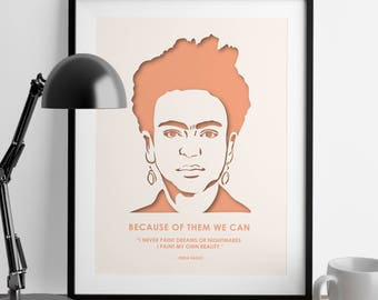 Frida Kahlo - Cute Apartment Décor – Dorm Decorations – Poster – Wall Hanging – Frida Kahlo Quotes – Feminist Art – She Persisted